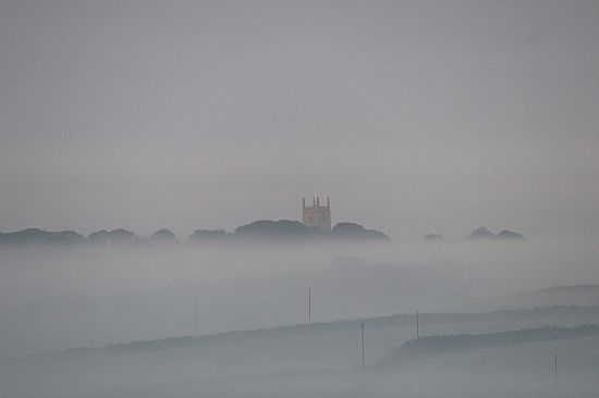 Sithney Parish Church in a sea of mist